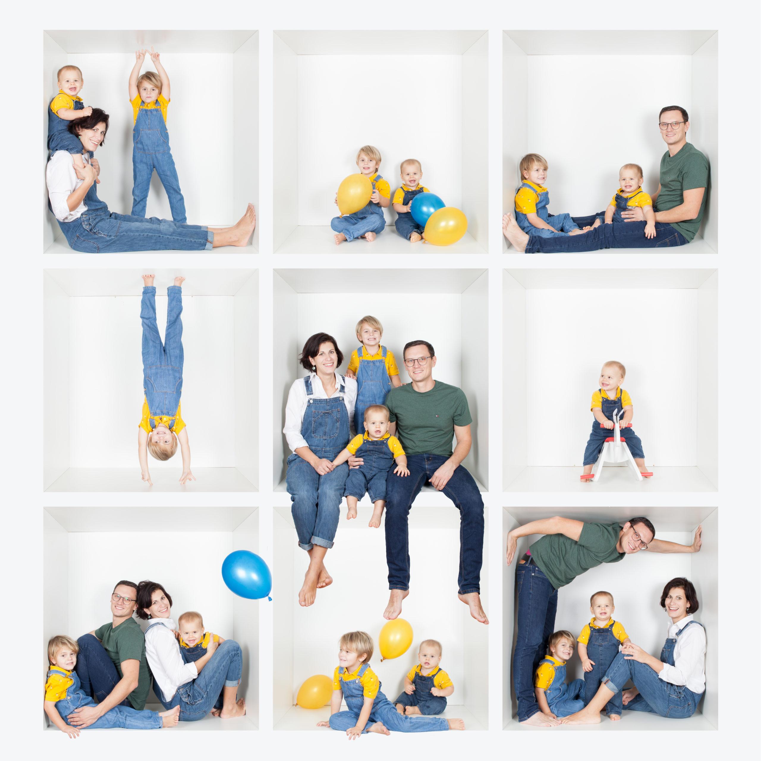 Séance en famille réalisée en effectuant un montage de 9 photos afin de créer une seule photo